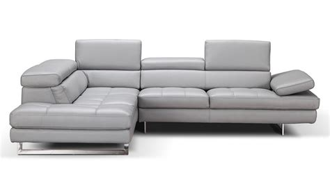 light grey sectional sofa aurora premium leather sectional sofa in light grey free