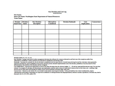sle decision log template 9 free documents in pdf word