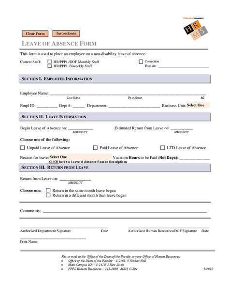 employee absence form template leave of absence form images
