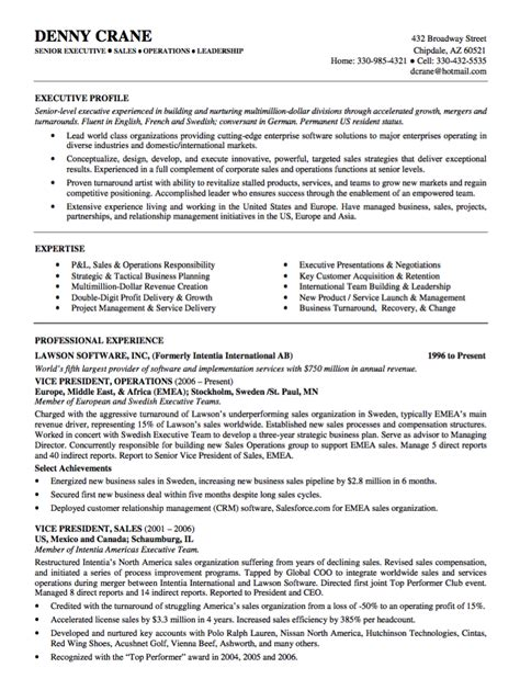 Resume Sles Executive Level Sales Executive Resume Summary