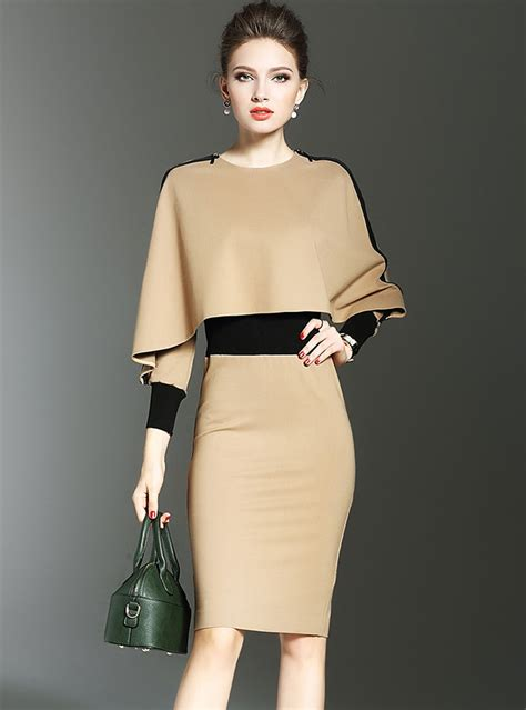 apricot batwing sleeve cinched waist bodycon dress