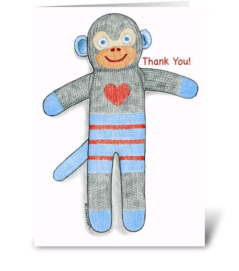 Sock Monkey Thank You Cards