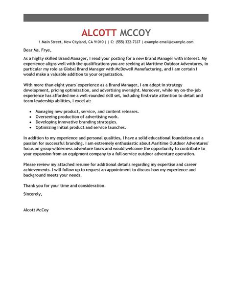 Brand Management Cover Letter by Best Brand Manager Cover Letter Exles Livecareer