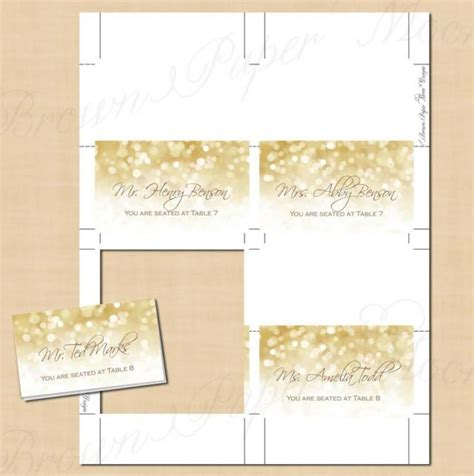 free template folded place cards size 5 x 2 25 white gold sparkles place card tent fold to 3 5x2 text