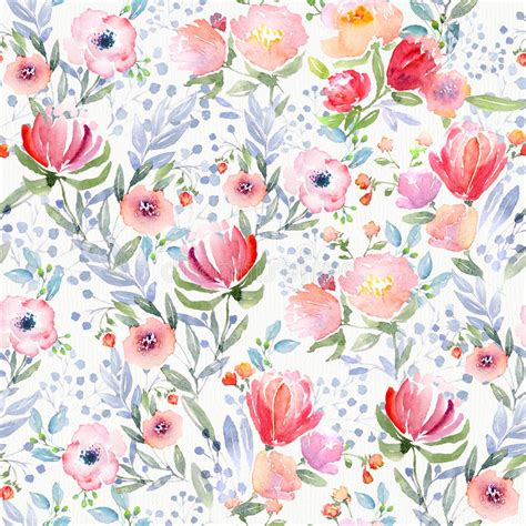 Watercolor Floral Pattern Stock Illustration Illustration