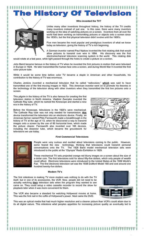 The History Of For Worksheet by The History Of Tv Worksheet Free Esl Printable