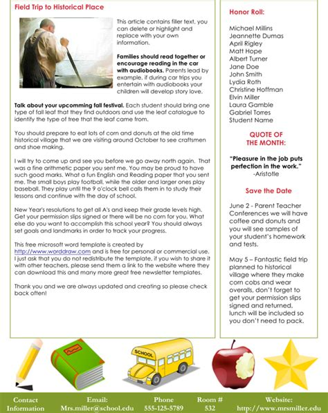 class newsletter template free free classroom newsletter template for