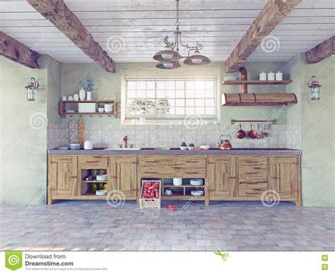 cuisine à l ancienne int 233 rieur 224 l ancienne de cuisine illustration stock