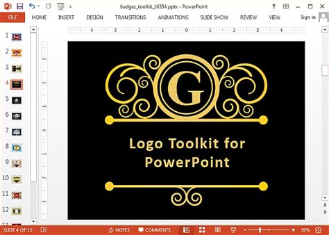design a logo in powerpoint 애니메이션 배지 및 로고 메이커 파워 포인트 템플릿