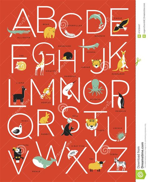 alphabet with animals stock vector alphabet poster design with animal illustrations stock