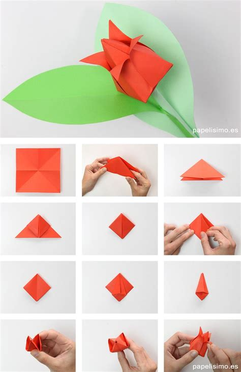 How To Make Origami Shapes - como hacer tulipan de papel origami tulip flowers