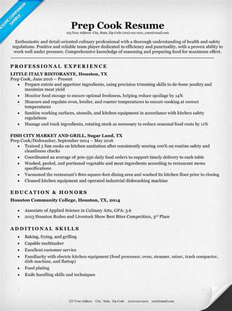 Food Prep Resume by Prep Cook Resume Sle Writing Tips Resume Companion