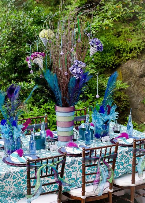 peacock themed decorations peacock feathers dinner ideas photo 1 of 19