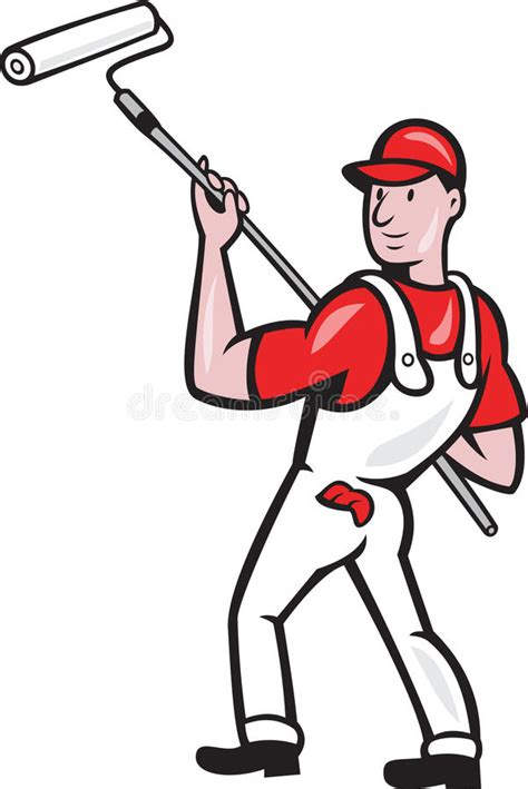 house painter clipart house painter with paint roller cartoon stock vector illustration of tradesman roller 27376716