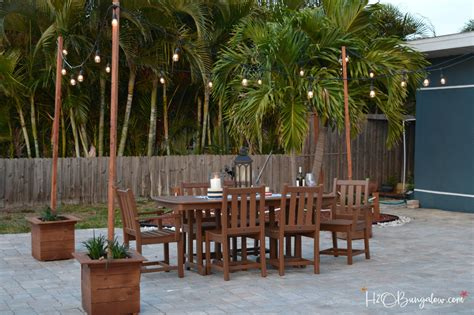 backyard light strings diy outdoor string lights on poles h20bungalow