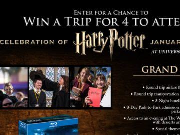 Wizarding World Of Harry Potter Sweepstakes - warner bros wizarding world of harry potter sweepstakes
