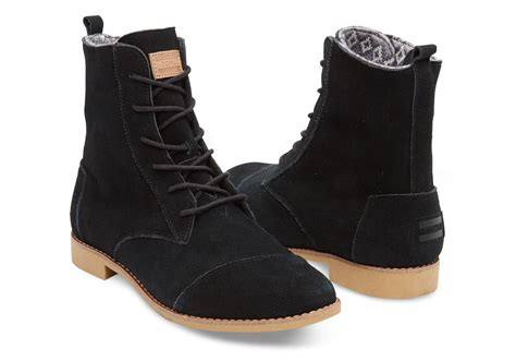 toms boots toms black suede s alpa boots in black lyst