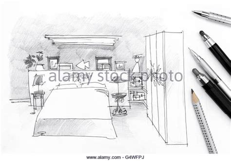 Bedroom Drawing Tool Freehand Pencil Drawing Bedroom Interior Stock Photos