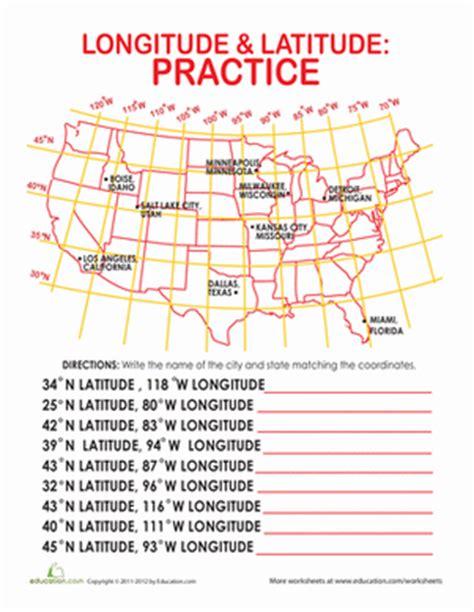 printable quiz on latitude and longitude latitude and longitude of cities worksheet education com
