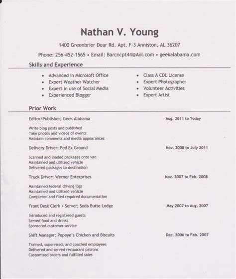 exle cv for young person exle resume sle resume young person