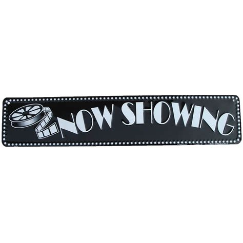 home theater signs now showing home theater tin sign or wall plaque