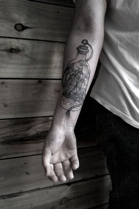 ship in a bottle tattoo 40 impressive forearm tattoos for