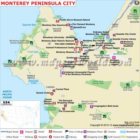 map monterey ca monterey peninsula map city map of monterey peninsula