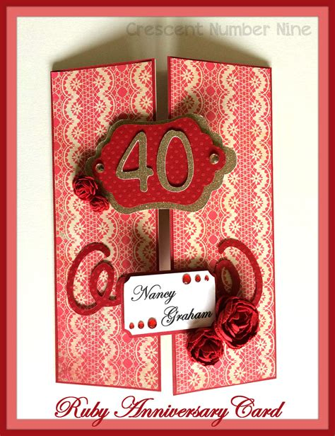 Ruby Wedding Anniversary Card For Parents by Something Special Crescent Number Nine