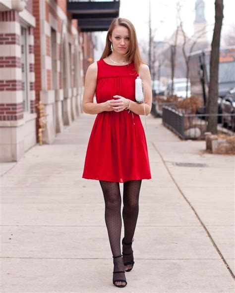holiday outfit red dress dot print tights silver