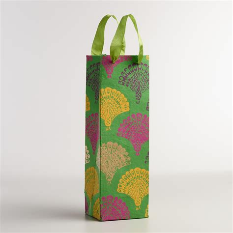 Handmade Wine Bags - peacock handmade wine gift bags set of 2 world market