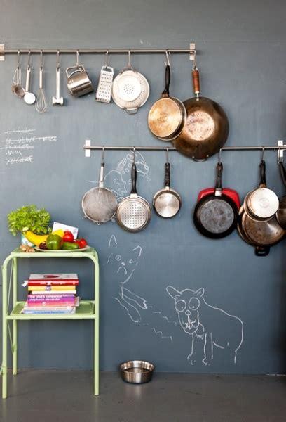 Hanging Pans On Wall Blackboard Wall Hanging Pans Homie