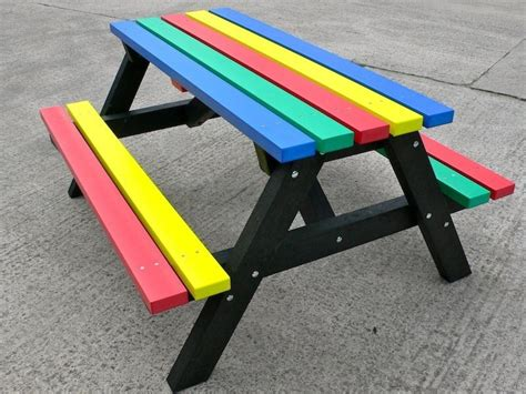 recycled plastic picnic bench multicoloured recycled plastic picnic table rainbow range trade
