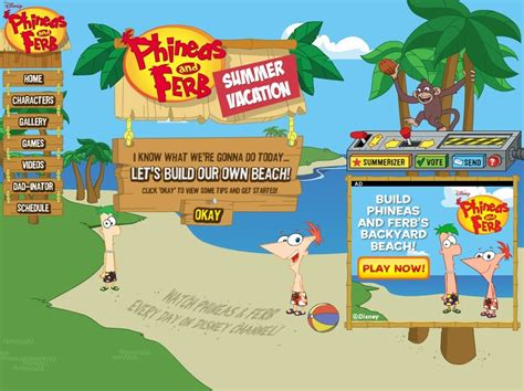phineas and ferb backyard beach game summer vacation summerizer phineas and ferb wiki your