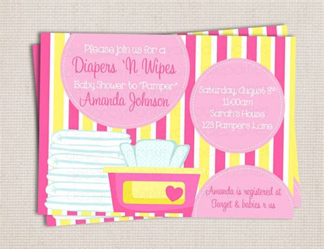 Diapers And Wipes Shower Invitation by Diaper And Wipe Custom Printable Baby Shower Invitation Pink