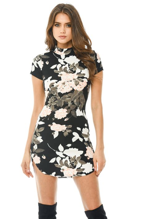 Fathana Flowery Bodycon Mini Dress ax womens black mini dress floral printed capped sleeve bodycon ebay