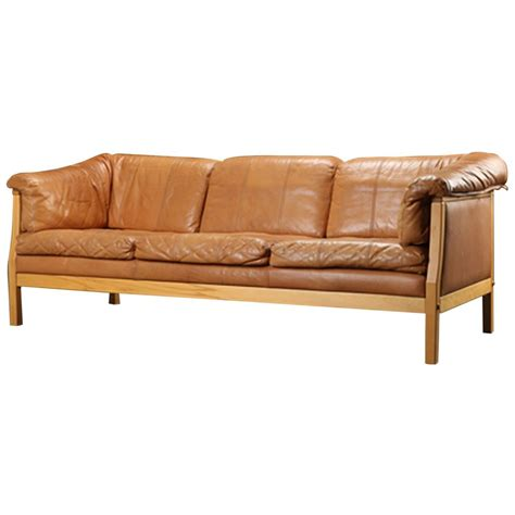 danish modern sectional danish modern caramel leather sofa at 1stdibs