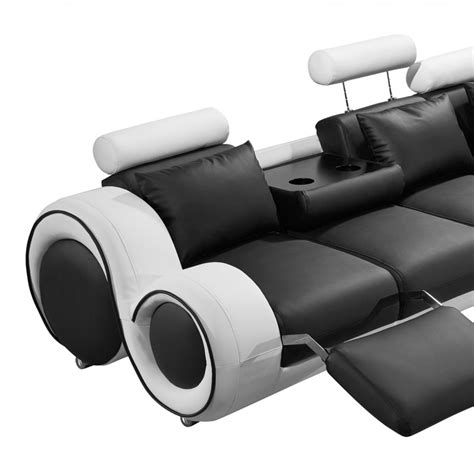 modern black and white leather sectional sofa divani casa 4087 modern black and white bonded leather