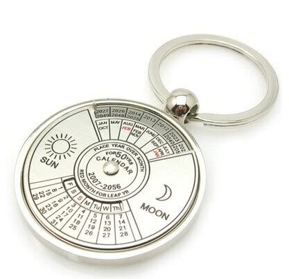 Calendar Keychain 100 Years Free Shipping White Zinc Alloy Key Chain Ring 50 Years