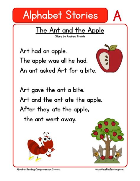 reading comprehension worksheet the ant and the apple