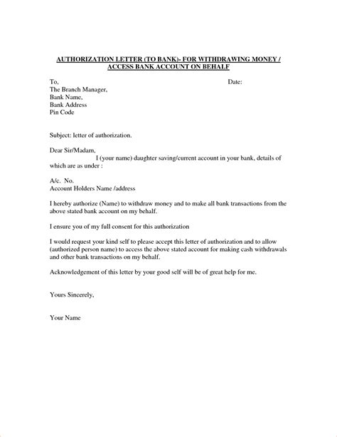 bank authorization letter template 7 bank authorization letter procedure template sle
