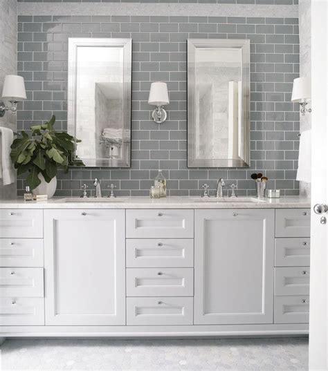 mirrored tile backsplash contemporary bathroom ana heather garrett design bathrooms gray subway tile