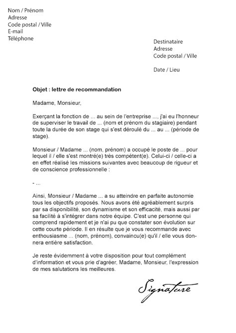 Lettre De Motivation Stage Recommandation Modele Lettre De Recommandation D Un Maitre De Stage Document