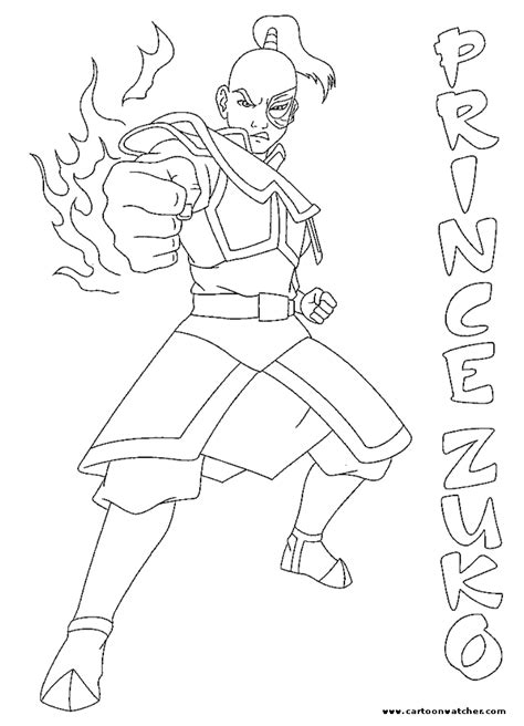 prince zuko coloring pages quot avatar cartoon kids