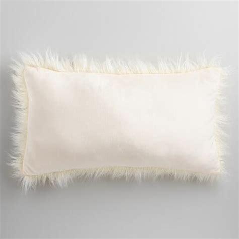 faux fur lumbar pillow oversized ivory mongolian faux fur lumbar pillow world