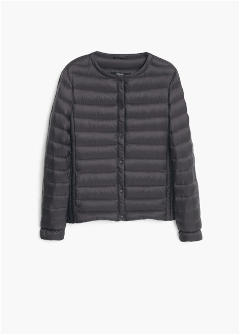 Black Quilted Coat by Mango Black Quilted Feather Coat Lyst