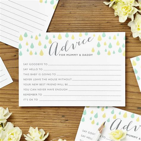baby shower advice cards template baby shower advice cards template