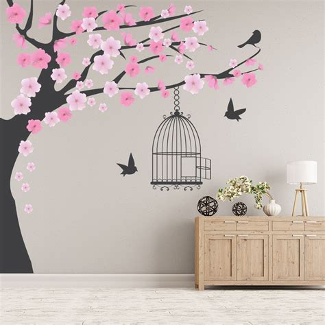 home decor wall stickers pink blossom tree wall sticker bird cage wall decal