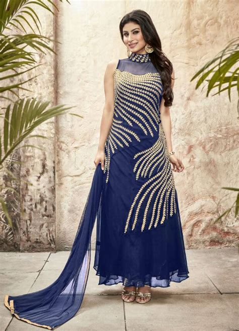 indian hairstyles on evening gowns buy styles closet blue georgette embroidery semi stitiched