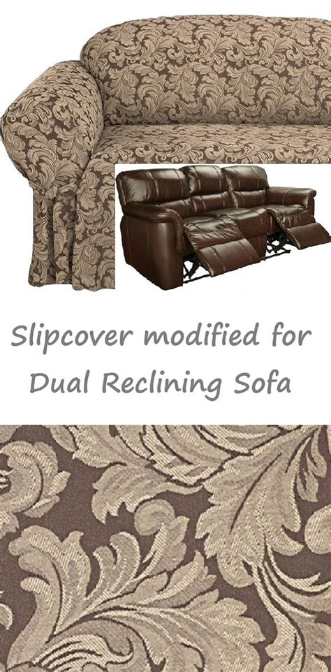 dual reclining sofa slipcover dual reclining sofa slipcover damask chocolate brown sure