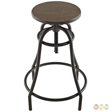steel bar stool toll rustic industrial round steel bar stool with bamboo
